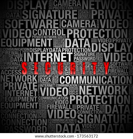 security info in word collage on black background - stock photo