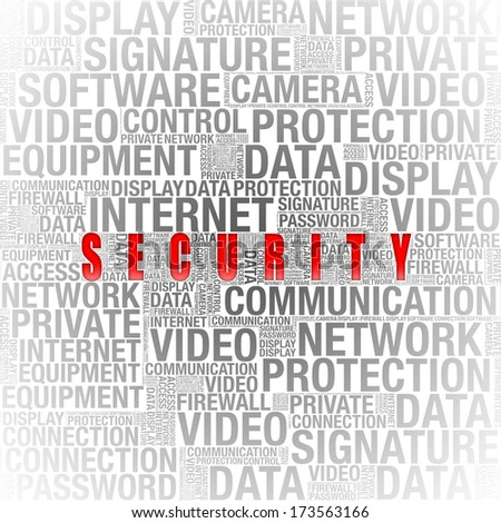 security info in word collage on white background - stock photo