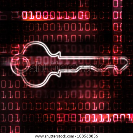 security key and binary code abstract illustration - stock photo