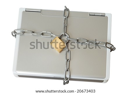 Security: Laptop with chains and padlock isolated on white - stock photo