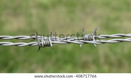 Security line with a barbed wire fence - stock photo