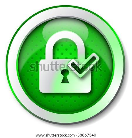 Security lock ON icon - stock photo