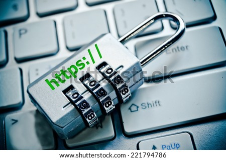 security lock with https on computer keyboard - stock photo