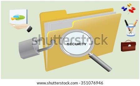Security lock with offices belongings - stock photo