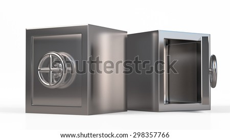 Security metal safe with empty space inside. - stock photo