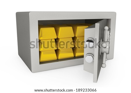 Security metal safe with golden bars on a white background