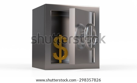 Security metal safe with $ symbol inside. - stock photo