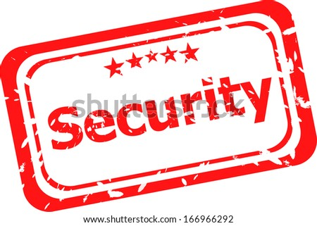 security on red rubber stamp over a white background