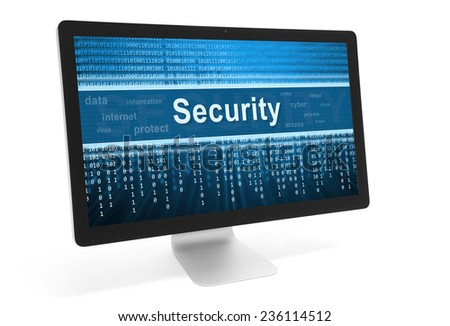 security online concept. Message on computer monitor screen - stock photo