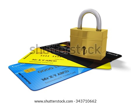 Security Pad Lock on Credit Cards - stock photo