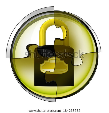 security padlock connection in circular jigsaw concept illustration - stock photo