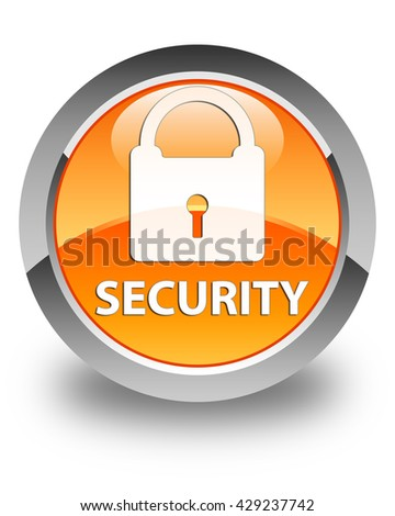 Security (padlock icon) glossy orange round button