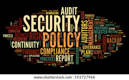 Security policy  in word tag cloud on black - stock photo