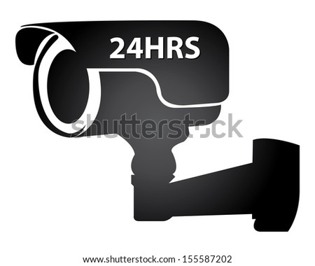 Security, Privacy or Top Secret Concept Present By Black Glossy Style 24HRS Surveillance Camera or CCTV Icon Isolated on White Background  - stock photo