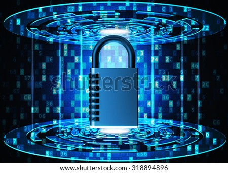 Security, privacy, protection and safety data access concept, metallic combination code lock on blue abstract technology background with digital code - stock photo