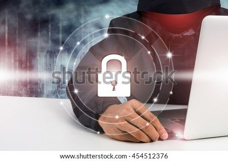 Security protection from hackers with icon lock on screen, security data. - stock photo