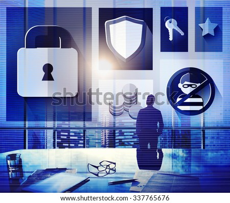Security Protection Privacy Password Firewall Concept - stock photo