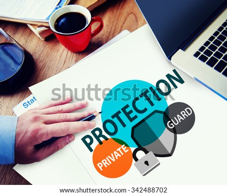 Security Protection Secrecy Privacy Firewall Guard Concept - stock photo