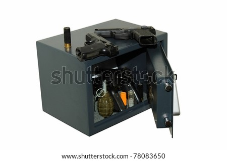 Security safe in the arms, isolated on whites - stock photo