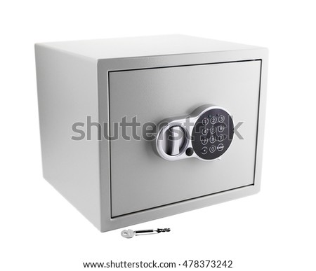 Security safe on white background