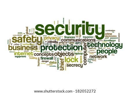 security safety word cloud concept image - stock photo