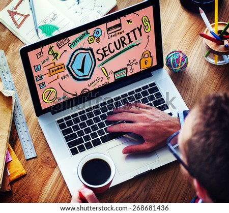 Security Shield Protection Privacy Network Concept - stock photo