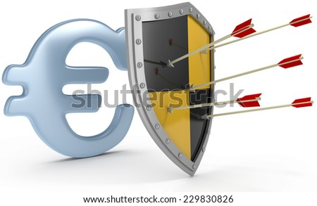 Security shield protects money European Euro currency financial security - stock photo