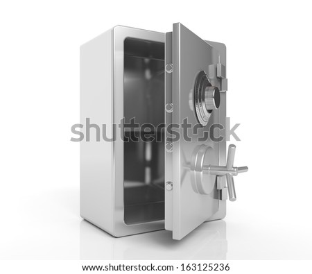 Security steel empty safe isolated on white - stock photo