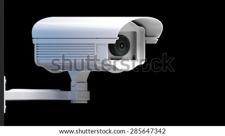 Security surveillance camera isolated on black background