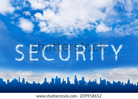 Security text on cloud with blue sky - stock photo