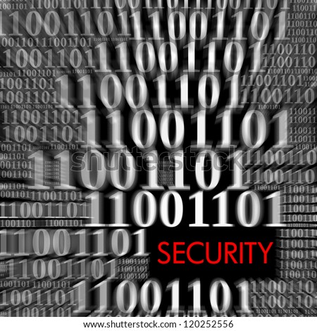 Security with motion blur of binary code - stock photo