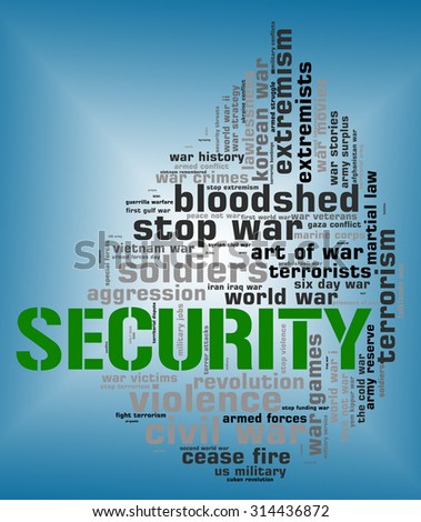 Security Word Indicating Protected Words And Wordclouds - stock photo