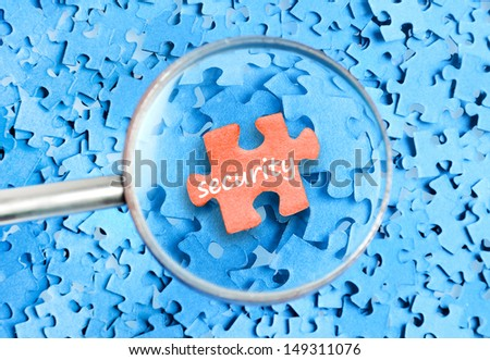Security word on puzzle background  - stock photo