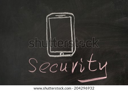 Security word with mobile phone on blackboard - stock photo