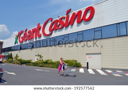 SEDAN, FRANCE - JULY 23: Facade of a Geant Casino hypermarket, part of French retailing Giant Groupe Casino, is a hypermarket chain and is based in France, July 23 2013 Sedan, France - stock photo