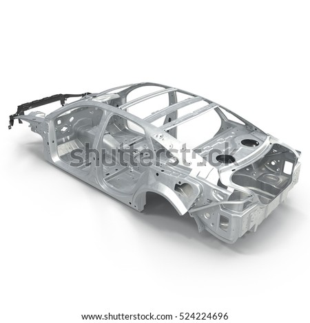 Sedan without cover on white. Angle from up. 3D illustration