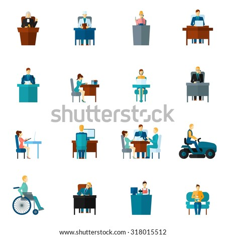 Sedentary life inactive lifestyle passive living icons flat set isolated  illustration - stock photo
