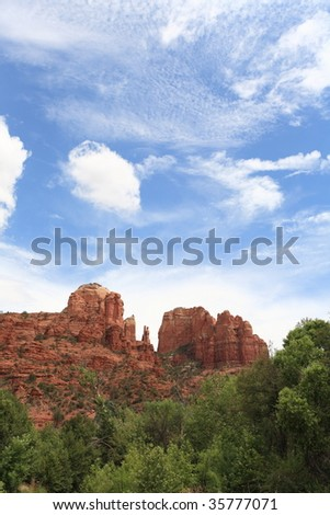 Sedona Cathedral Rock in the Summer sky (1) - stock photo
