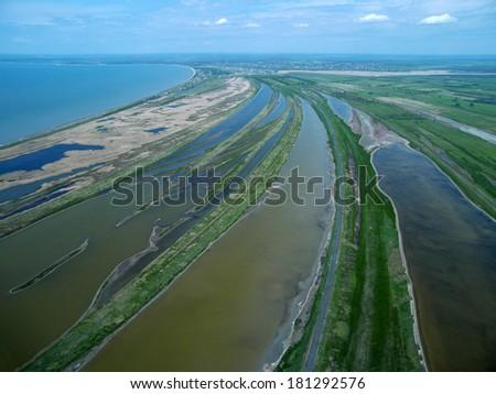 Sedovo spit. Sea of Azov. Aerial view. - stock photo