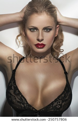Seductive blonde beauty - stock photo