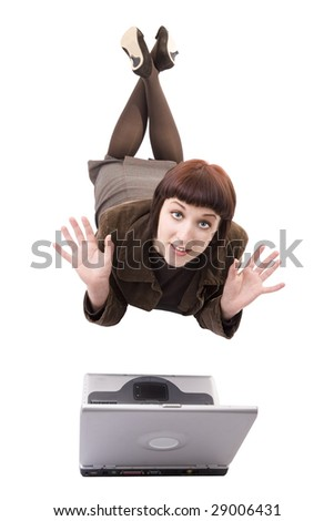 See my other laptop shots. A woman needing help with her laptop shot on white background. - stock photo