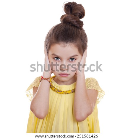 See No Evil, Hear No Evil, do not say anything, Portrait of beautiful little girl, studio on white background