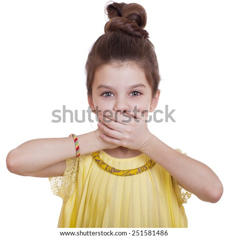 See No Evil, Hear No Evil, do not say anything, Portrait of beautiful little girl, studio on white background  - stock photo