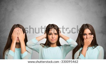 See no evil, hear no evil, speak no evil - stock photo