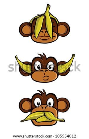 See no evil, Hear no evil, Speak no evil, with bananas. - stock photo
