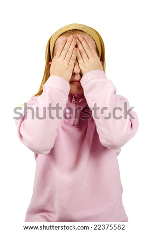 see no evil played by a little red hair girl - stock photo