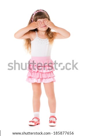See no evil - portrait of girl isolated on white background - stock photo