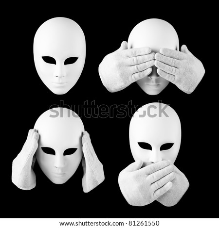 See nothing, hear nothing, nothing will not tell anyone / mask and hands - stock photo