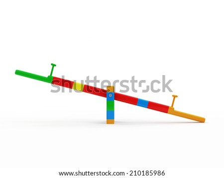 See Saw Swing on Children's Playground isolated on white background - stock photo