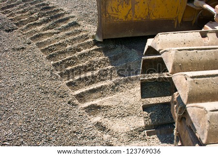 See the car to the ground with a trail of cars. - stock photo